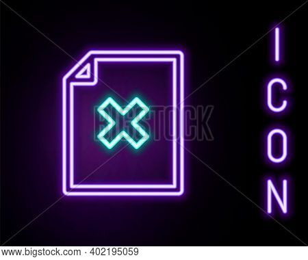 Glowing Neon Line Delete File Document Icon Isolated On Black Background. Rejected Document Icon. Cr