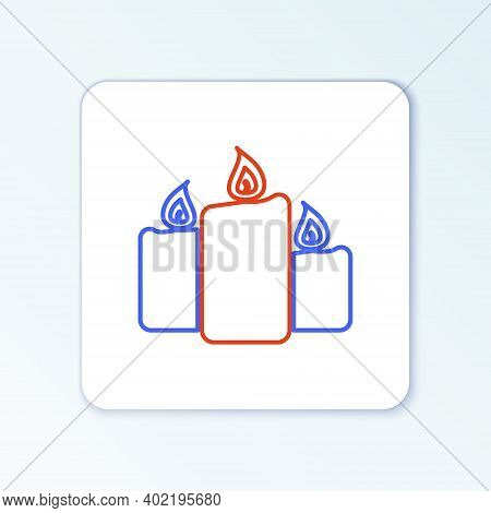 Line Burning Candles Icon Isolated On White Background. Old Fashioned Lit Candles. Cylindrical Aroma
