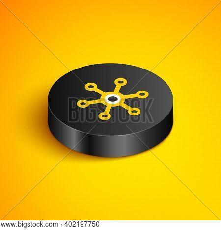 Isometric Line Network Icon Isolated On Yellow Background. Global Network Connection. Global Technol