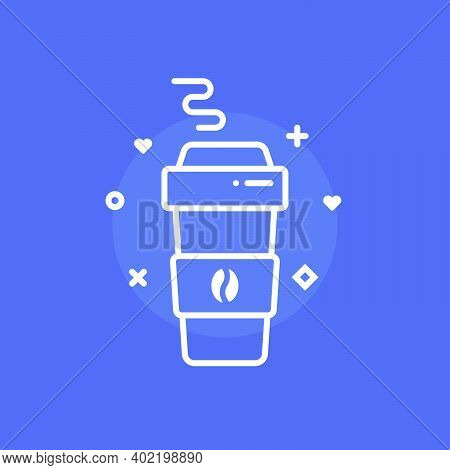 Cartoon Simple Coffee Paper Cup. Flat Trend Modern Hipster Lifestyle Coffe To Go Logotype Graphic Mi