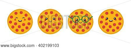 Set, Collection Of Cute And Smiling Cartoon Style Round Pepperoni Pizza Characters For Fast Food Des
