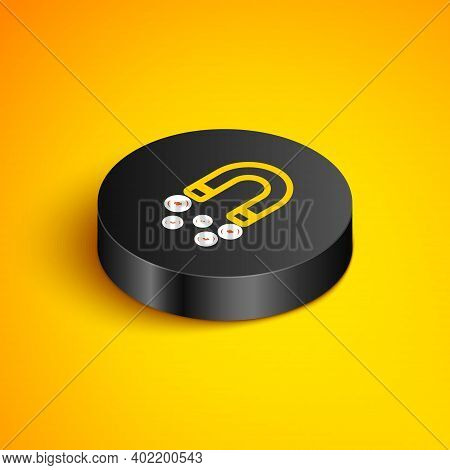 Isometric Line Magnet With Money Icon Isolated On Yellow Background. Concept Of Attracting Investmen