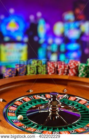 Roulette table close up at the Casino - Selective Focus