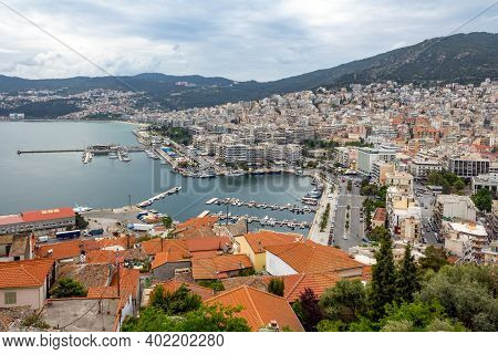 Aerial View Of Kavala City In Northern Greece With Marina And Seafront Promenade