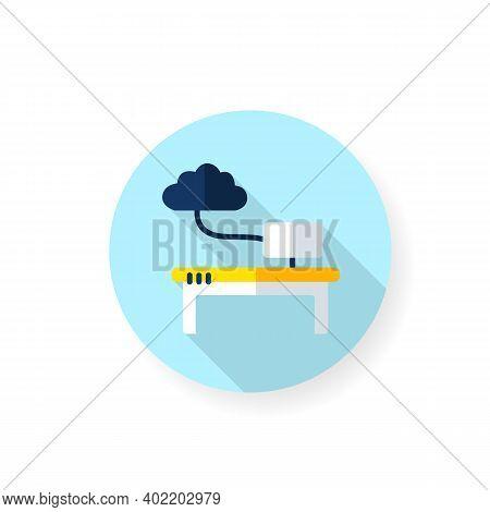 Work Data Cloud Storage Flat Icon. Database. Workflow Optimization. Smart Emerging Technologies. Con