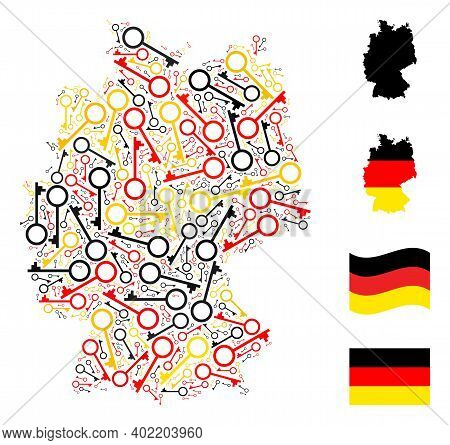 German Geographic Map Mosaic In German Flag Official Colors - Red, Yellow, Black. Vector Key Items A