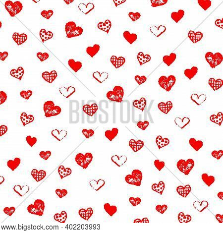 Happy Valentines Day Pattern Graphic Background With Many Types Of  Hand Drawn Red Heart Shapes. Vec