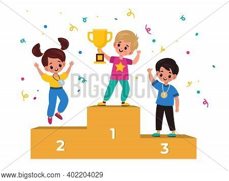 Kids Winners. Winning Podium With Junior Athletes, Children With Medals And Gold Cup, Champions Rank