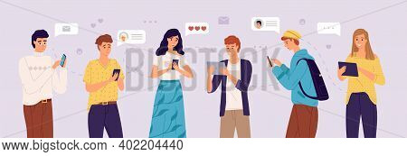 People Chatting Online. Young Women And Men Exchange Messages On Smartphones And Tablets. Friends So