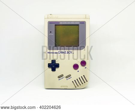 Rome, Italy, December 23, 2020: The Gameboy Portable Video Game Console From Nintendo Isolated On A