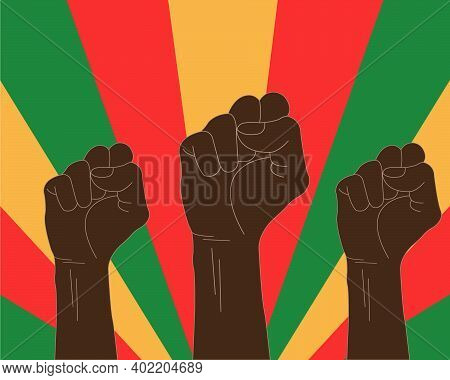 An Illustration Of Three Raised Black Fists. Black History Month Banner Template. African Culture Ap