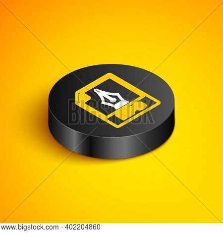Isometric Line Eps File Document. Download Eps Button Icon Isolated On Yellow Background. Eps File S