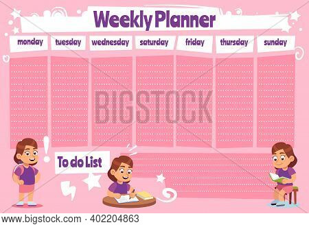 Weekly Planner For Kid. School Calendar Template, Kids Schedule And To Do List For Homework And Note