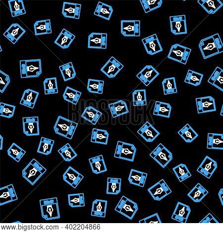 Line Eps File Document. Download Eps Button Icon Isolated Seamless Pattern On Black Background. Eps