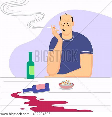 A Man Who Smokes And Drinks Who Leads An Unhealthy Lifestyle. Vector Image Depicting A Health Proble