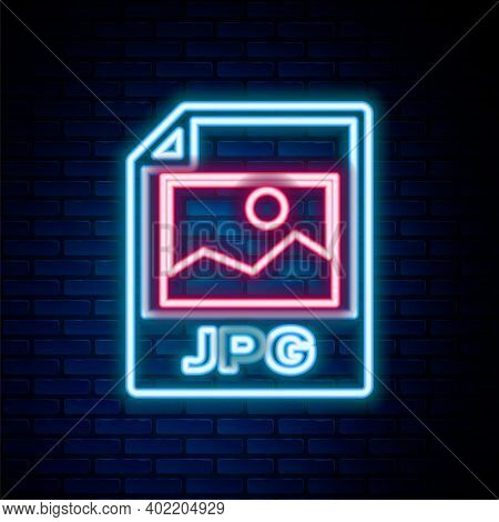 Glowing Neon Line Jpg File Document. Download Image Button Icon Isolated On Brick Wall Background. J
