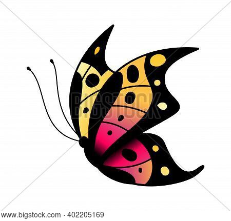 Colorful Stylized Butterfly. Flying Bright Insect Silhouette In Black, Pink And Yellow Colors, Minim