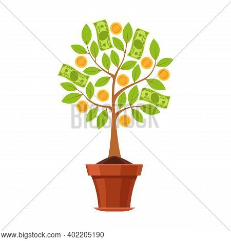 Financial Plant. Green Tree In Flowerpot With Leaves, Golden Flowers Coins And Dollar Cash, Business