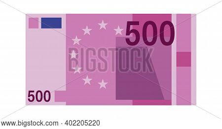 Five Hundred Euro Banknote. Purple Paper 500 Euro Money, Europe Cash Simple Design, World Global Cur