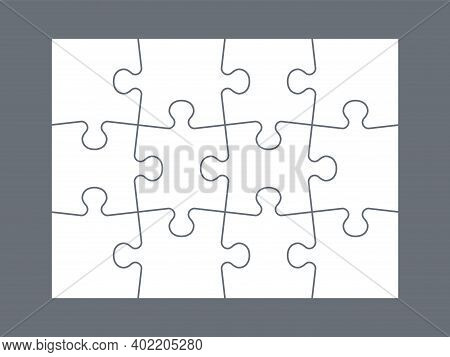 Parts Of Puzzle. White Jigsaw Infigraphic Template, Blank Matching Parts. Empty Mockup For Kids Mosa