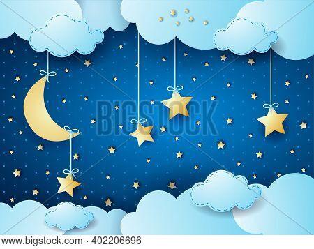 Surreal Night, Fantasy Cloudscape. Vector Illustration Eps10