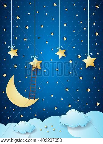 Surreal Cloudscape With Moon, Stars And Ladder. Vector Illustration Eps10