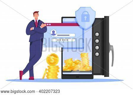 Online Bank Money Storage, Web Wallet Technology Illustration With Man, Safe Door, Login Form, Smart