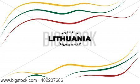 Three Color Line Art Background Design For Lithuana Independence Day. Good Template For Lithuania In