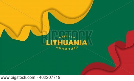 Three Color Abstract Background Design For Lithuana Independence Day. Good Template For Lithuania In