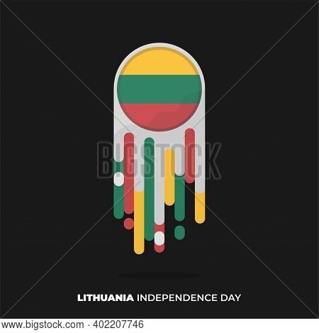 Flying Flat Meteor Of Lithuana Flag. Good Template For Lithuana Independence Or National Day Design.