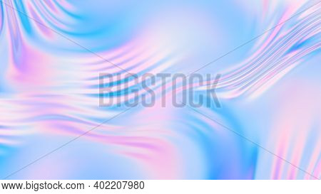 Abstract Holographic Silk Background. Gradient Neon Background. Holographic Foil Trendy Colorful Des