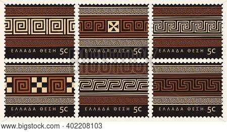 Set Of Postage Stamps With Traditional Ancient Greek Ornaments And Patterns In Black And Orange Colo