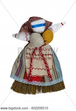 A Girl Doll Made Of Cloth, With A Blue Dress, White Apron And Red Belt. Home Creativity. Traditional