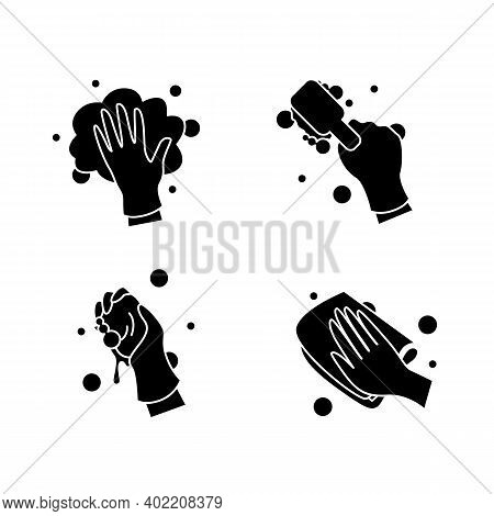 Surface Wiping Glyph Icons Set.housekeeper Hand In Glove Signs Collection. Wet Cleaning With Brush N