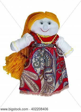 Doll-girl With Yellow Hair, Made Of Cloth, In A Red Dress. Home Creativity. Traditional Russian Doll