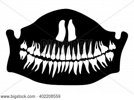 Halloween Half Death Mask With Lower Jaw And Teeth. Illustration