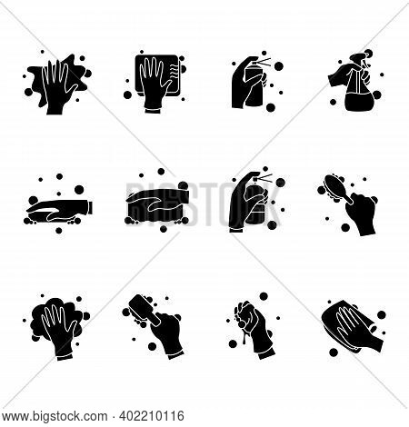Surface Wiping Glyph Icons Set.housekeeper Hand Signs Collection. Wet Cleaning With Sponge, Brush, N