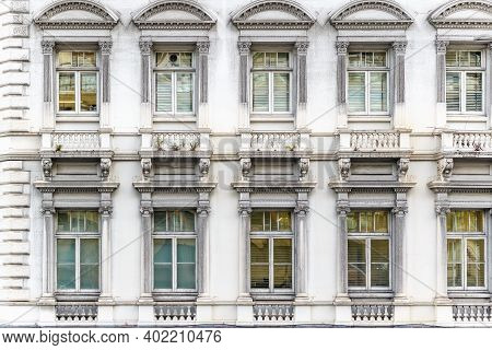 Facade Of A Neoclassical Building In London, Uk