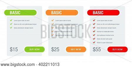 Tariff Comparsion Table Block - Web Ui Chart Flat Design Template - Basic, Standard, Premium Tariffs