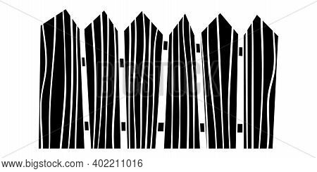 Fence Black And White Hand Drawn Illustration. Wooden Planks For Yard Territory Railing Silhouette I