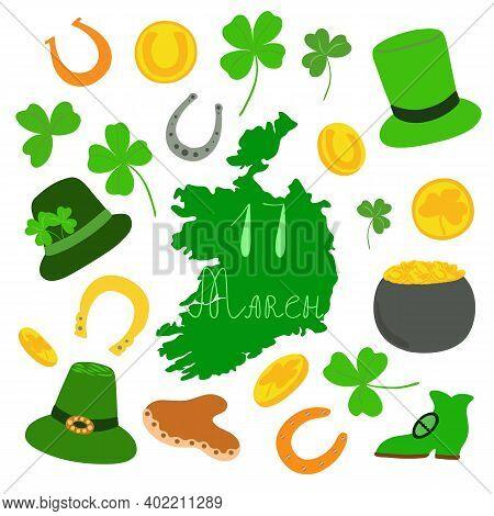 Shamrock Leaves, Coin, Ireland Map, Hat, Horse Shoe, Cauldron Vector Illustration Set, A Symbol Of A