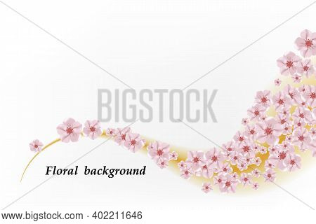 Sacura Flowers In Wave Pattern Isolated Over White Background. Vector Illustration.