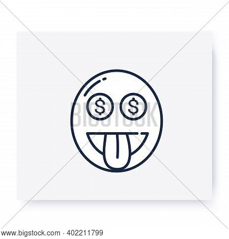 Money Mouth Face Line Icon. Excited Grinning Face With Dollar Signs Eyes, Wow Emoticon. Facial Expre