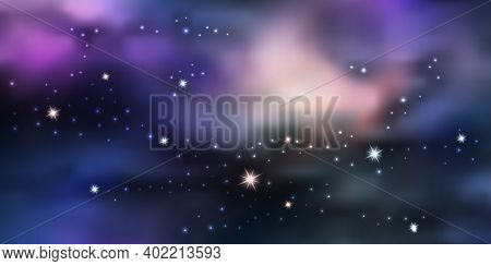 Galaxy Space Background. Night Sky Sith Star Nebula And Aurora Borealis. Glowing Stardust, Blue And