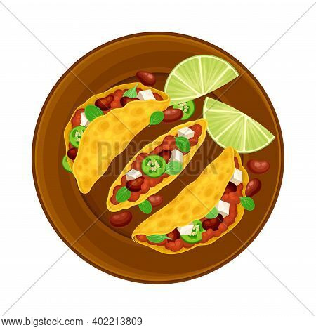 Taco As Wheat Tortilla With Forced Meat And Beans On Plate As Traditional Mexican Dish Vector Illust