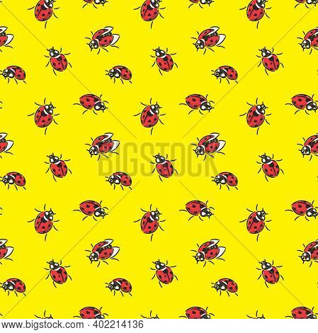 Ladybugs Vector Seamless Pattern On Yellow Background. Creative Doodle Style Pattern With Red Ladybu