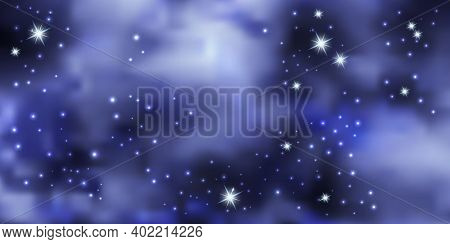 Blue Night Sky With Shiny Stars. Galaxy Space Background, Nebula Stardust. Cosmic Universe. Vector I