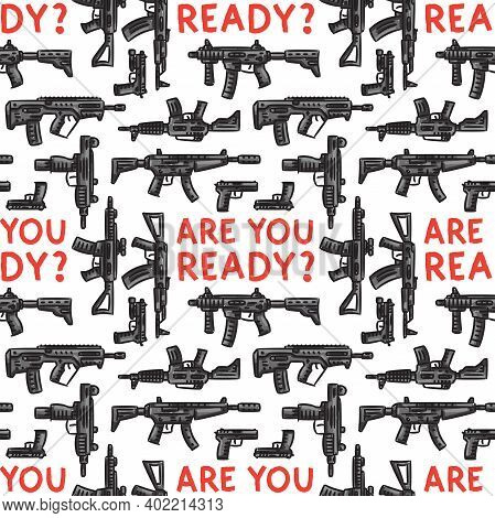 Weapons Vector Seamless Pattern On White Background. Pattern With Modern Weapons, Assault Rifles, Gu