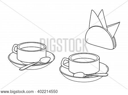 Set Of Two Cups On Saucers With Teaspoons And A Napkin Holder With Paper Napkins. Vector Linear Illu