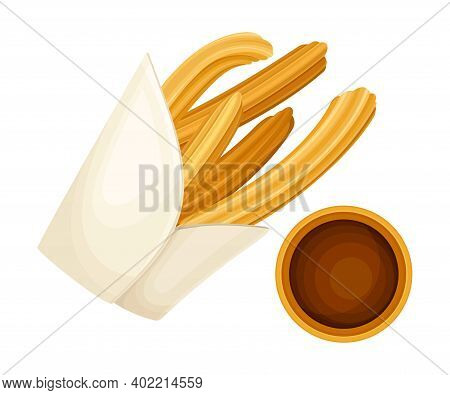 Churro As Fried-dough Pastry With Hot Chocolate As Mexican Cuisine Dessert Vector Illustration